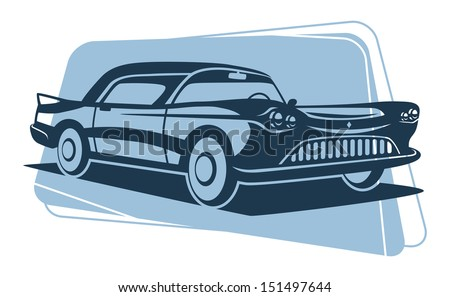Retro car silhouette. Vector illustration. - stock vector