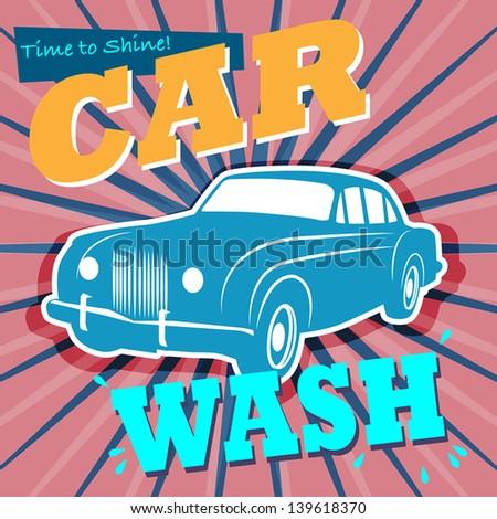 Retro car wash sign, vector illustration - stock vector