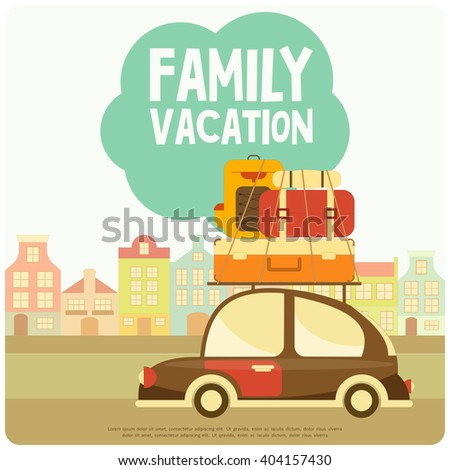 Retro Car with Luggage on Roof. Travel Car. City Background. Vector Illustration. - stock vector