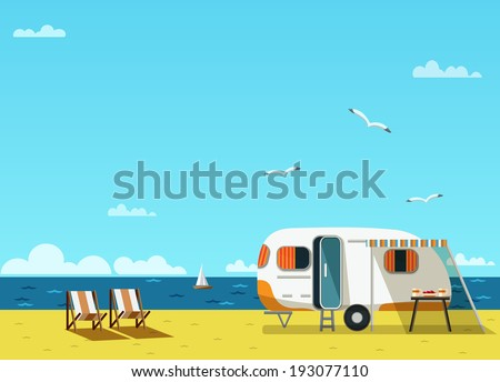 Retro caravan on the beach, summer vacation, vector illustration,retro background - stock vector