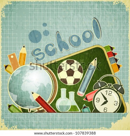 Retro card - back to school Design - School Board and School Supplies on blue vintage background - vector illustration - stock vector