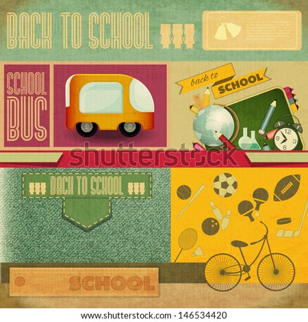 Retro Card -  Back to School Design - School Board, Sport Icons and School Supplies on Vintage  Background - Vector Illustration - stock vector