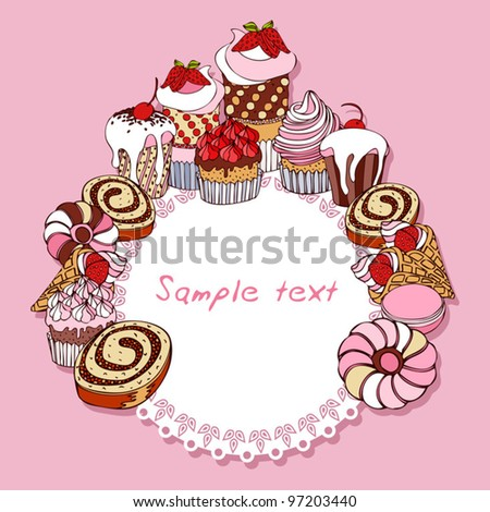 Retro card background with cakes, vintage frame, Invitation, greeting with cupcakes for design - stock vector
