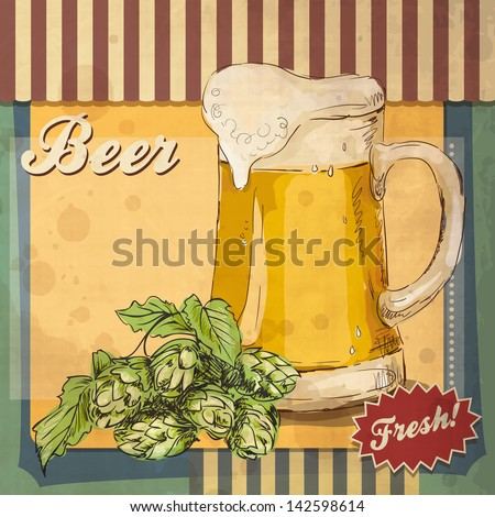 Retro card design with beer. Retro styled poster of beer. Good as a template of advertisement. beer vector icons, beer isolated. Beer drink, beer sign, beer pub alcohol. Beer logo - stock vector