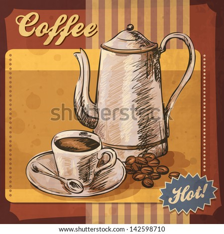 Retro card design with coffee - stock vector
