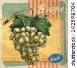 Retro card design with grape - stock photo