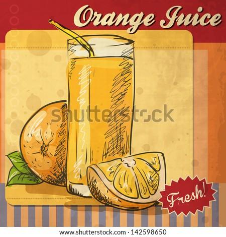 Retro card design with orange juice - stock vector