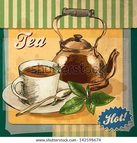 Retro card design with tea - stock vector