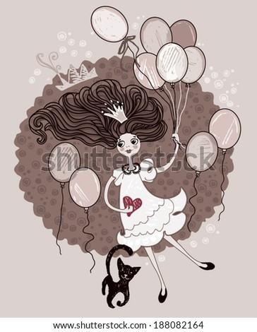 Retro card. Girl with balloons.  - stock vector