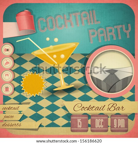 Retro card. Invitation to cocktail party in vintage style. Square format. Vector illustration. - stock vector