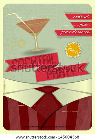 Retro card. Invitation to cocktail party in vintage style. Vector illustration. - stock vector
