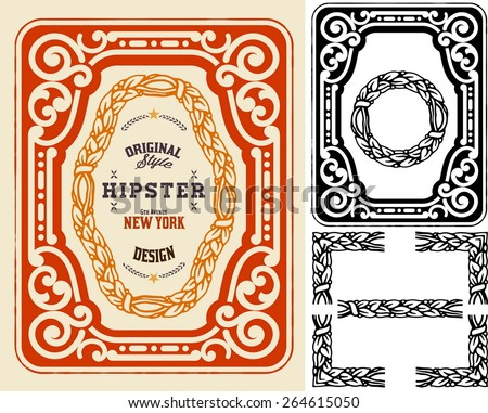 Retro card with design elements. Organized by layers.