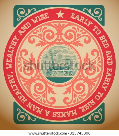 Retro card with engraving and  floral details. Organized by layers. - stock vector