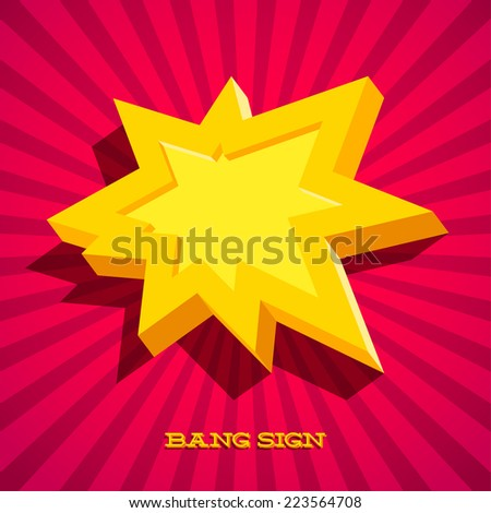 Retro card with explosion sign as text frame - stock vector