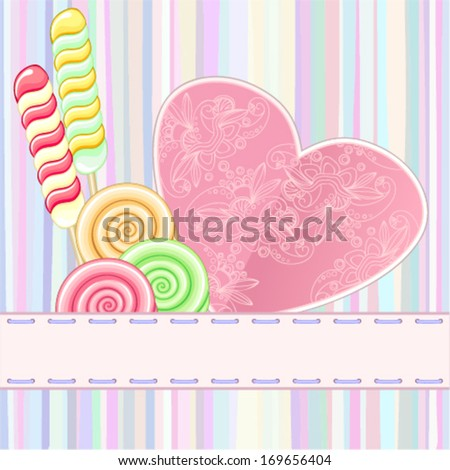Retro card with lollipops - stock vector