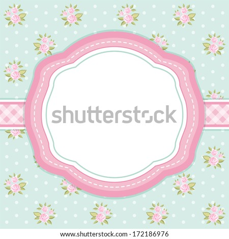 Retro Card With Oval Frame On Shabby Chic Background Roses For Wedding Baby Shower