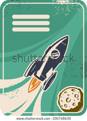 Retro card with rocket flying through Outer Space - stock vector
