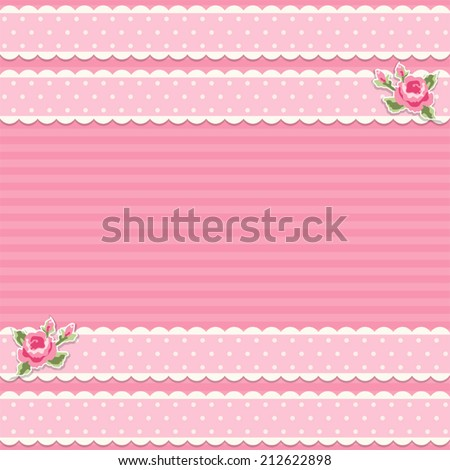 Retro card with textile ribbons and roses in shabby chic style ideal for baby shower