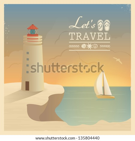 Retro card with the beacon and sailboat image at sunset. - stock vector