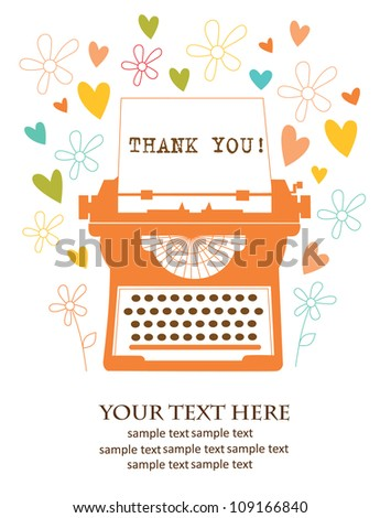 retro card with typewriter. vector illustration - stock vector
