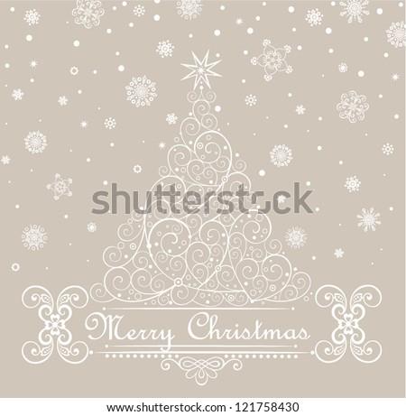 Retro card with xmas tree - stock vector