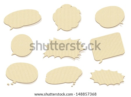 retro cardboard bubbles speech Vector - stock vector