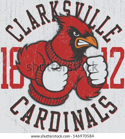"Retro ""Cardinals"" athletic design complete with cardinal mascot vector illustration, vintage athletic fonts and matching textures (all on separate layers, of course).  - stock vector"