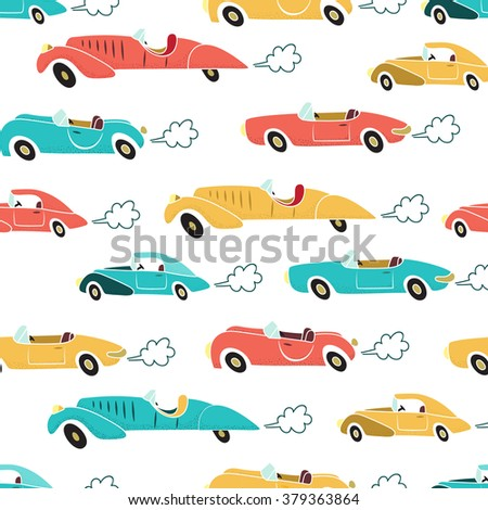 Retro cars with exhaust cloud seamless pattern  - stock vector