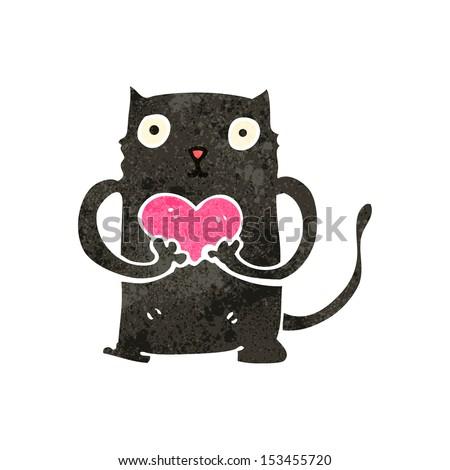 retro cartoon black cat with love heart - stock vector