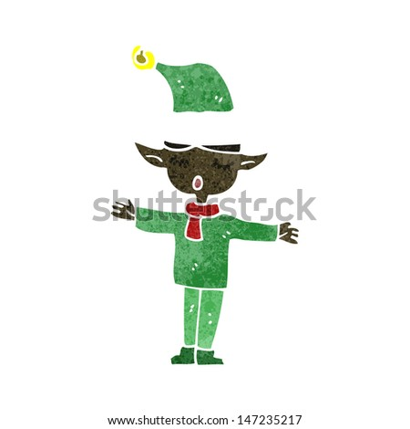 retro cartoon christmas elf