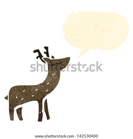 retro cartoon deer with speech bubble - stock vector