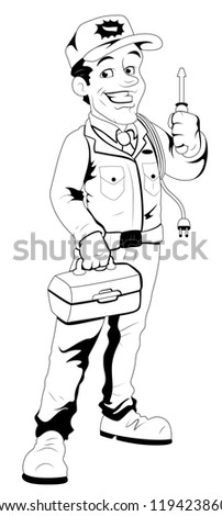 Retro Cartoon Electrician