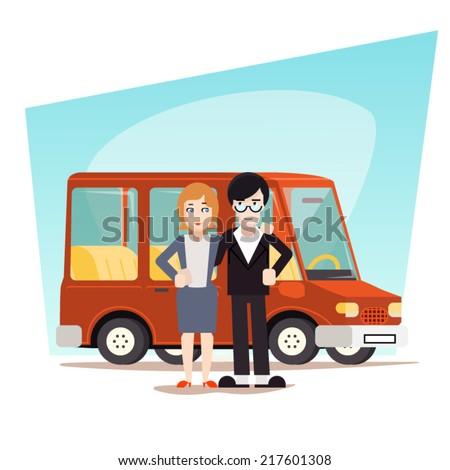 Retro Cartoon Family with Car Travel Van Icon Modern Design Stylish Background Vector Illustration - stock vector