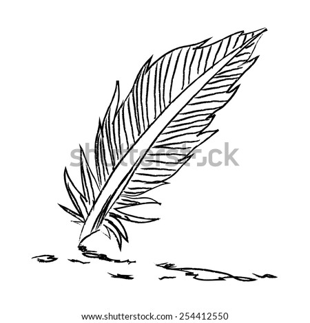 Retro cartoon feather. Vector illustration on white background. - stock vector