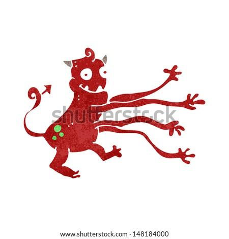 retro cartoon funny monster - stock vector