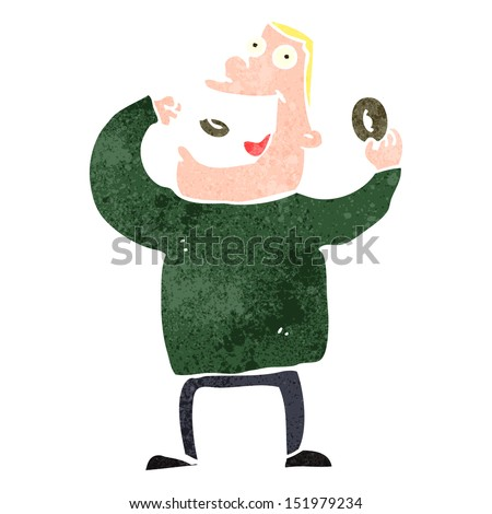 retro cartoon greedy man eating donuts