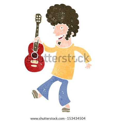 retro cartoon guitar player