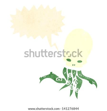 retro cartoon halloween skull octopus - stock vector