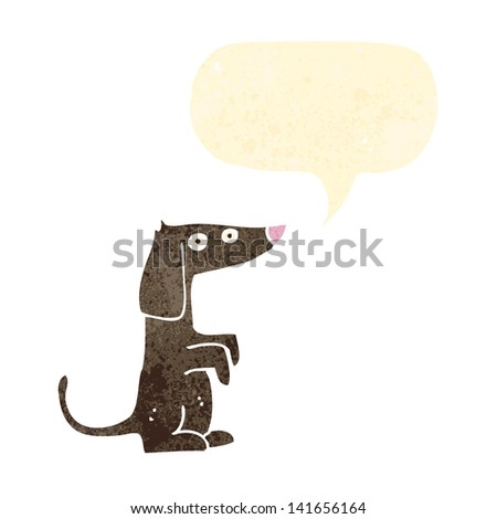retro cartoon little dog with speech bubble - stock vector