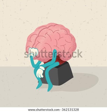 retro cartoon of a thinking brain character  - stock vector