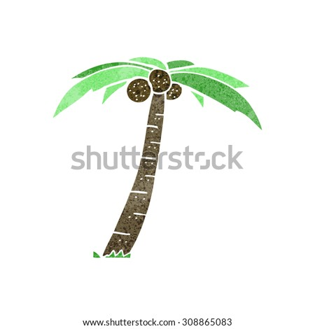 retro cartoon palm tree