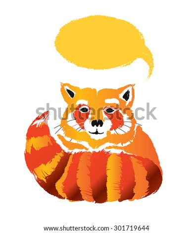 Retro cartoon Red Panda with speech bubble.Watercolor grunge paint animal silhouette.Vector illustration of cute little raccoon, hiding behind its tail. Friendly character.  Isolated on white. Eps 10. - stock vector