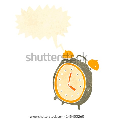 retro cartoon ringing alarm clock - stock vector