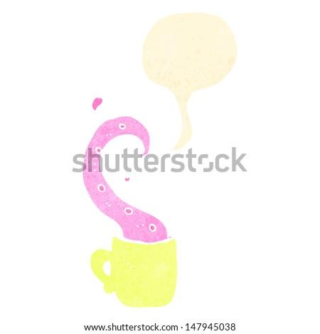 retro cartoon teacup tentacle - stock vector