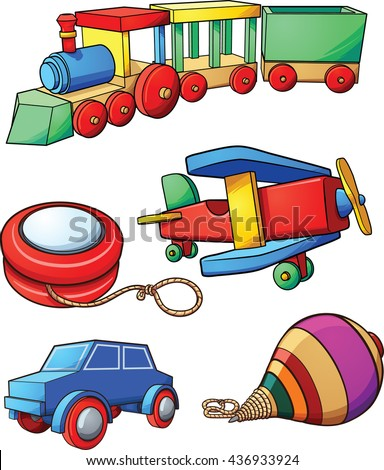 Retro cartoon toys. Vector clip art illustration with simple gradients. Each on a separate layer. - stock vector