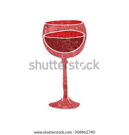 retro cartoon wine glass - stock vector