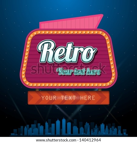 Retro casino sign with copyspace - stock vector