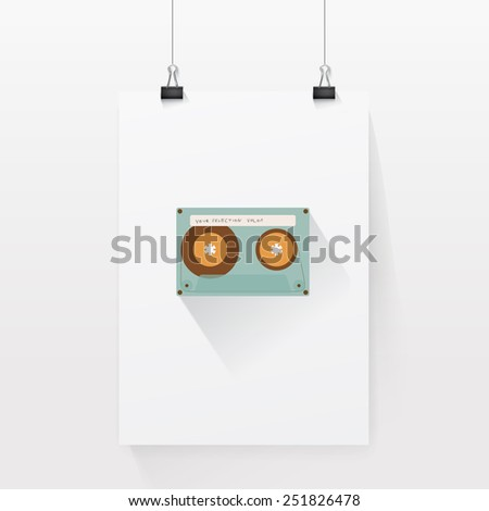 Retro Cassette Vector Composition on A 3D A4 Paper Sheet Mock Up Page - stock vector