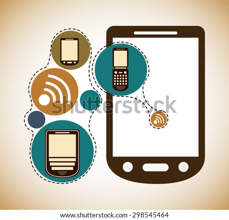 retro cellphone design, vector illustration eps10 graphic  - stock vector