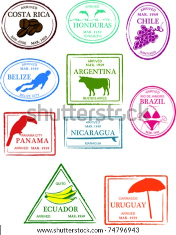 Retro Central and South America Set of Fun Country Passport Stamps Vector Illustration - stock vector
